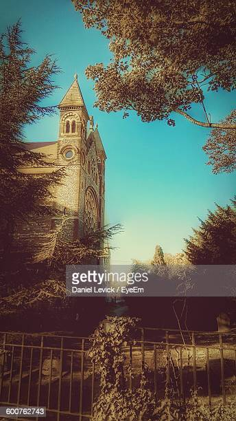 low angle view of st albans cathedral with trees - st. albans stock pictures, royalty-free photos & images