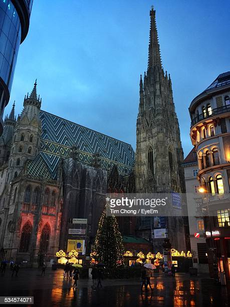 Low Angle View Of St Stephens Cathedral At Dusk During Christmas