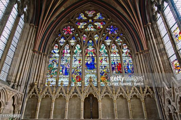 low angle view of stained glass in church - exeter england stock pictures, royalty-free photos & images