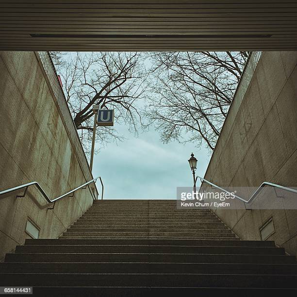 low angle view of staircase against bare trees - letter u stock photos and pictures