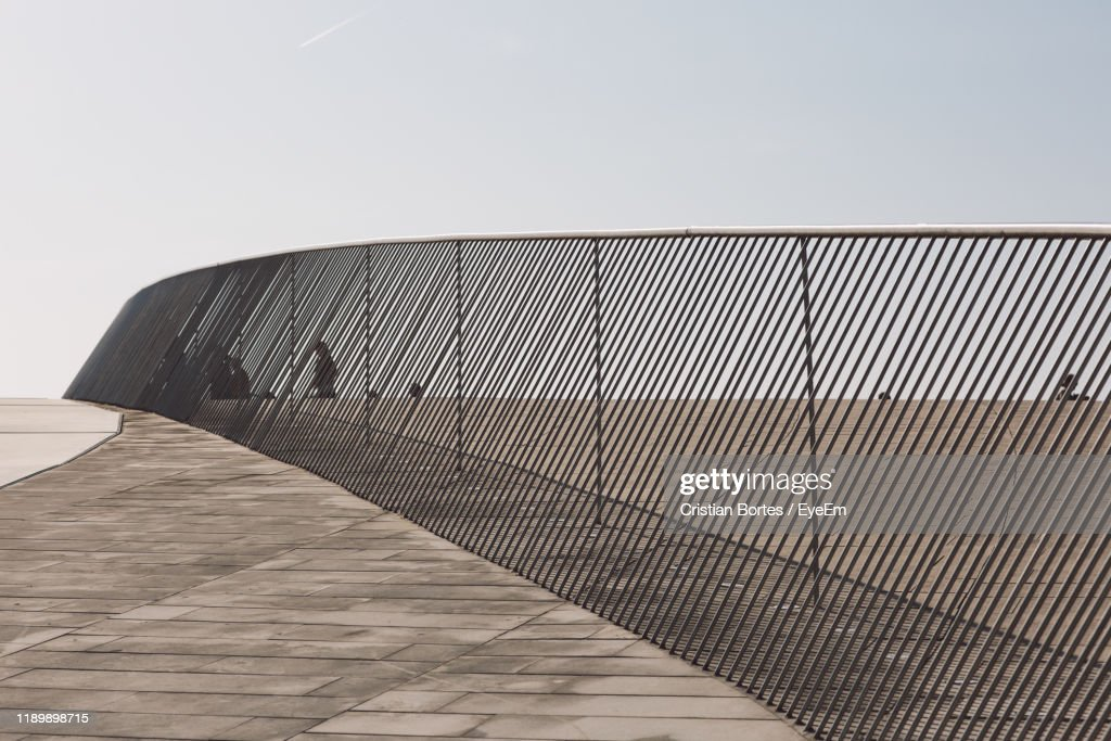 Low Angle View Of Staircase Against Building Against Clear Sky : Stock Photo
