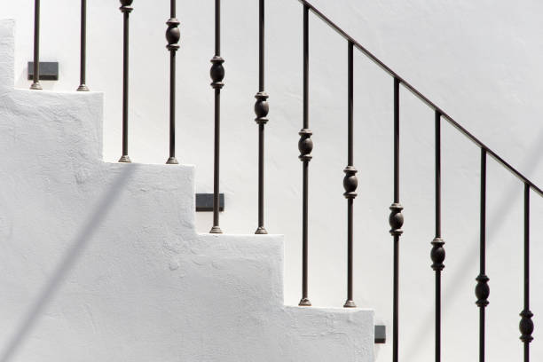 Low Angle View Of Staircase Against Sky, Nousa, Greece