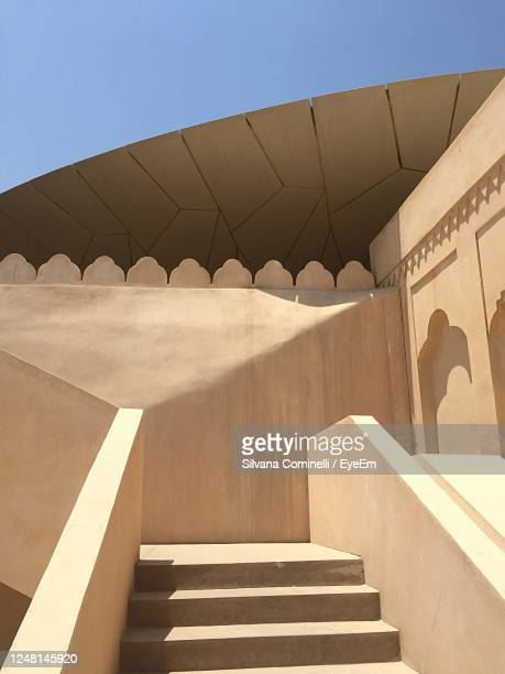 low angle view of staircase against sky - qatar stock pictures, royalty-free photos & images