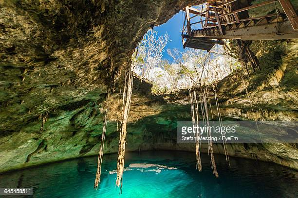 low angle view of staircase at cenote - yucatan peninsula stock pictures, royalty-free photos & images