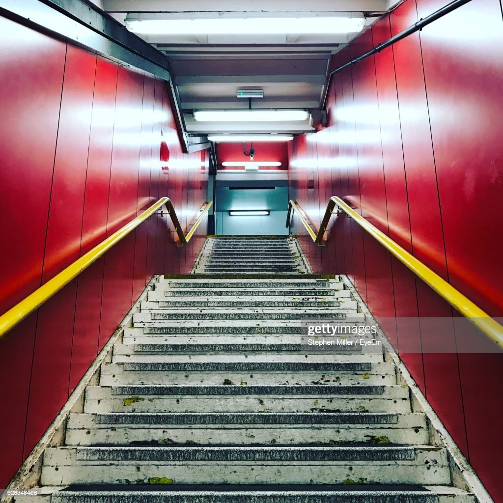 Low Angle View Of Staircase At Subway Station : Stock Photo