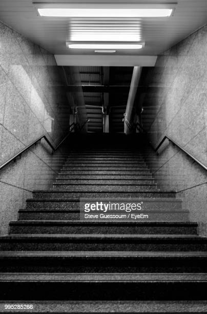 Low Angle View Of Staircase In Illuminated Building