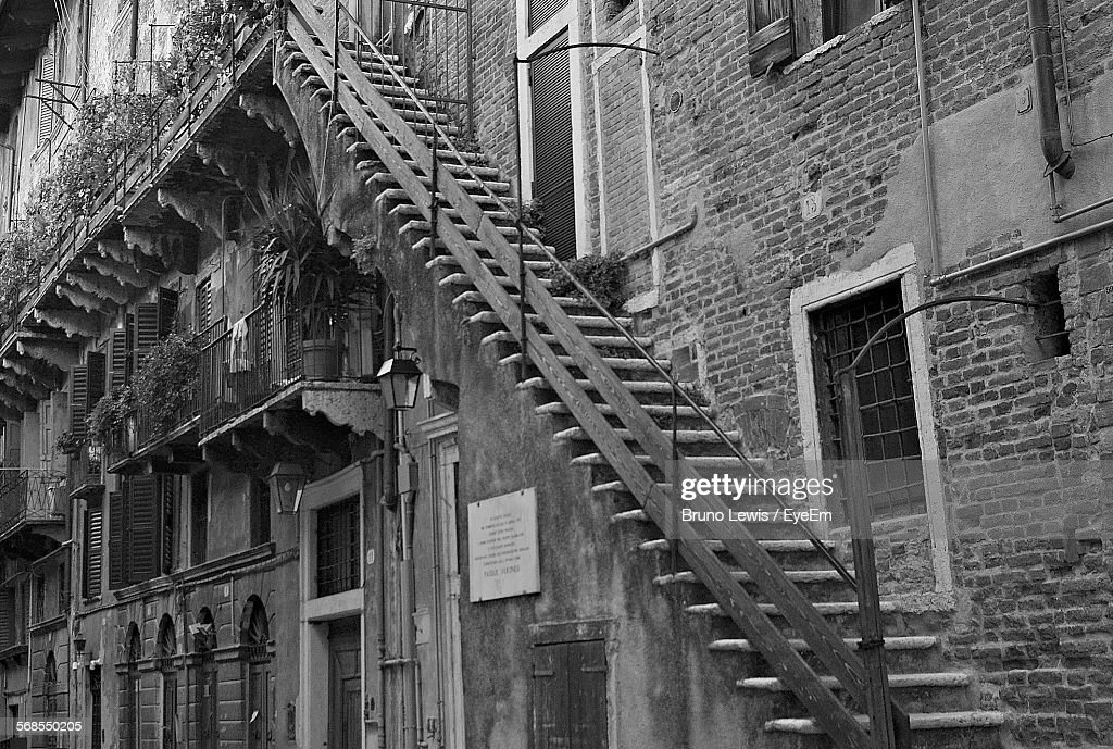 Low Angle View Of Staircase On Old Building : Stock Photo