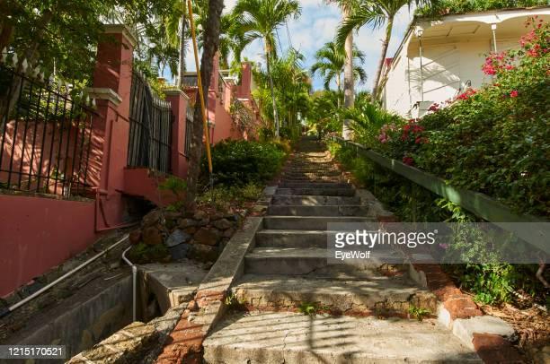 low angle view of stairs in st. thomas, usvi - paisajes de st thomas fotografías e imágenes de stock