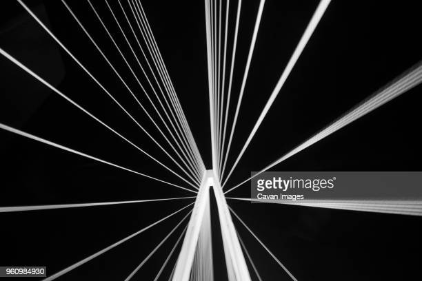 low angle view of stan musial veterans memorial bridge against clear sky at night - st. louis missouri stock pictures, royalty-free photos & images