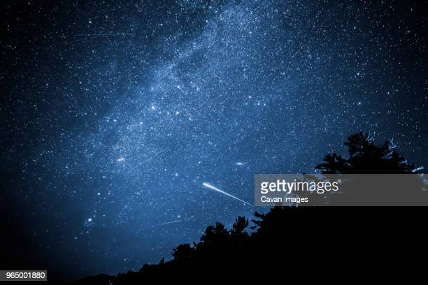 low angle view of star field at night - star trail stock pictures, royalty-free photos & images