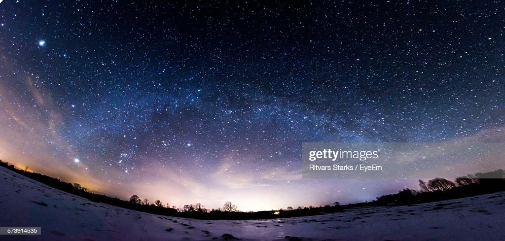 Low Angle View Of Starry Sky At Dusk : Stock Photo