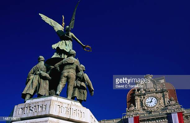 Low angle view of statue in front of Town Hall, Alpes-Maritimes region.