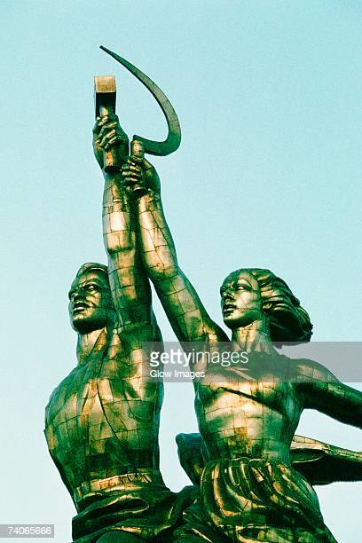 low angle view of statues, statue of farm workers, moscow, russia - former soviet union stock pictures, royalty-free photos & images
