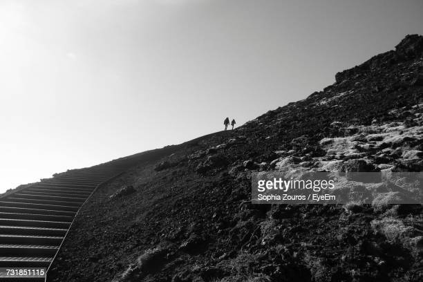 Low Angle View Of Steps On Mountain Against Clear Sky