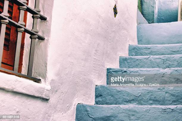 low angle view of steps outside house - denia stock pictures, royalty-free photos & images