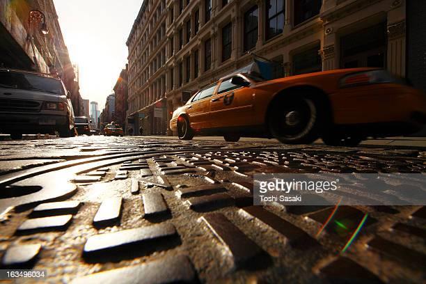 Low angle view of stone paveme street