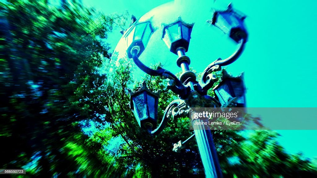 Low Angle View Of Street Light Seen Through Bubble : Stock Photo