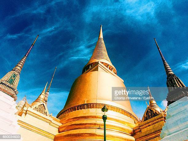 Low Angle View Of Stupas Of Wat Phra Kaew Against Sky