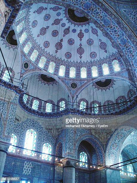 low angle view of sultan ahmed mosque ceiling - blue mosque stock pictures, royalty-free photos & images