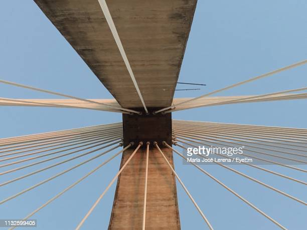 low angle view of suspension bridge against clear blue sky - posadas stock pictures, royalty-free photos & images