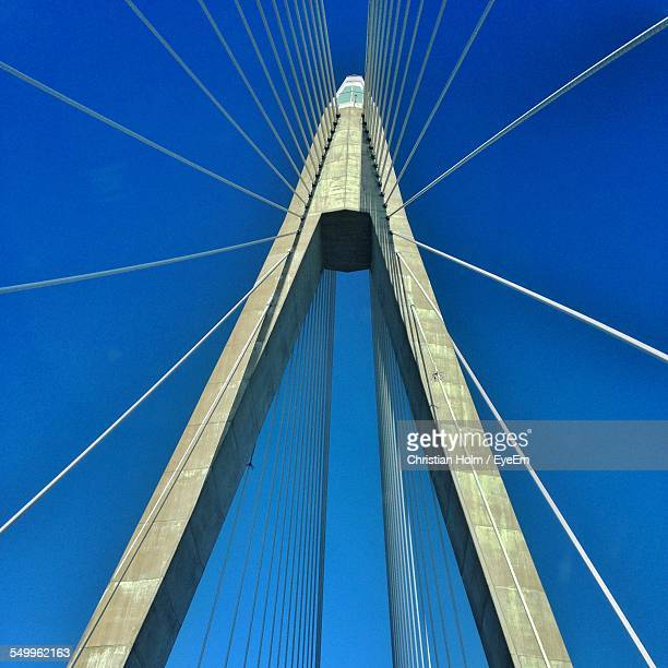 Low Angle View Of Suspension Bridge Cables Against Clear Blue Sky