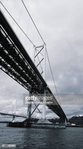 Low Angle View Of Suspension Bridge Over River