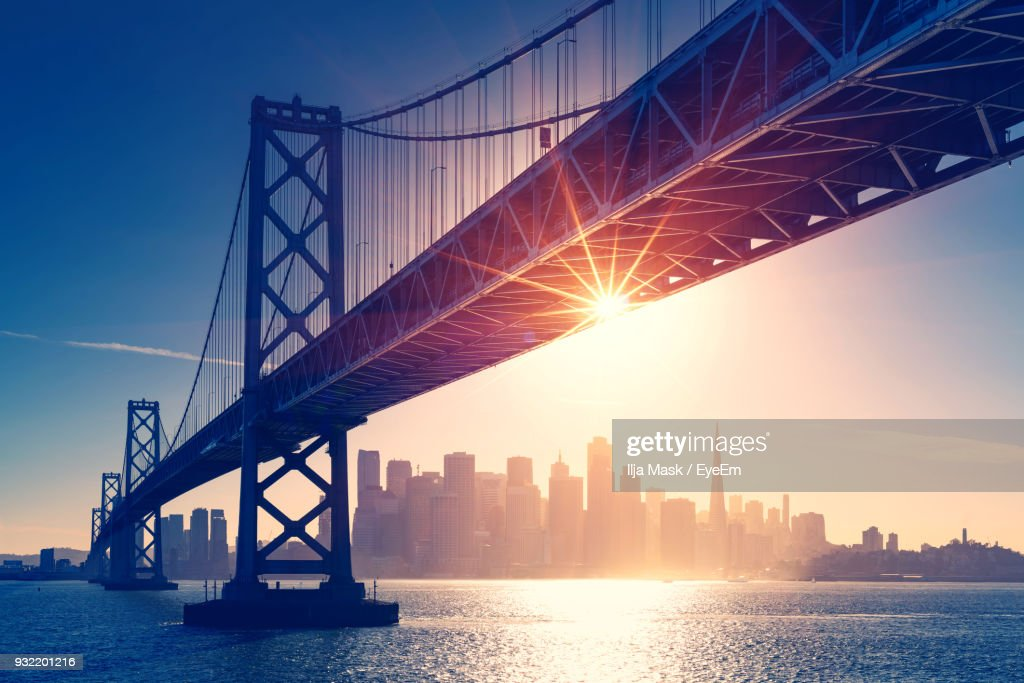 Low Angle View Of Suspension Bridge : Stock Photo