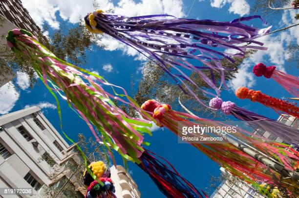 low angle view of tanabata matsuri (star festival) decorations - tanabata festival stock pictures, royalty-free photos & images