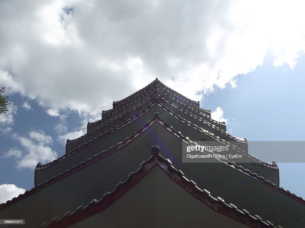 Low Angle View Of Temple Against Cloudy Sky : Stock Photo