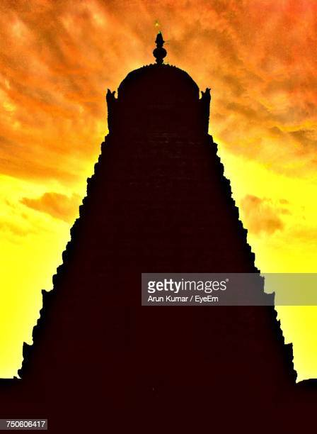 Low Angle View Of Temple Against Sky At Sunset