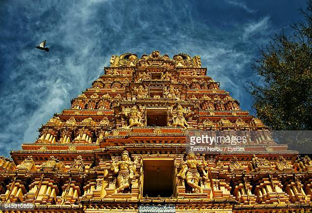Low Angle View Of Temple At Mysore Palace Against Sky