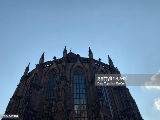 low angle view of temple building against clear blue sky - data topuria stock pictures, royalty-free photos & images