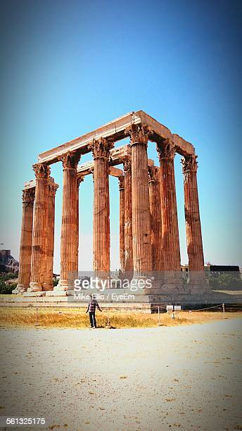 Low Angle View Of Temple Of Olympian Zeus Against Clear Blue Sky