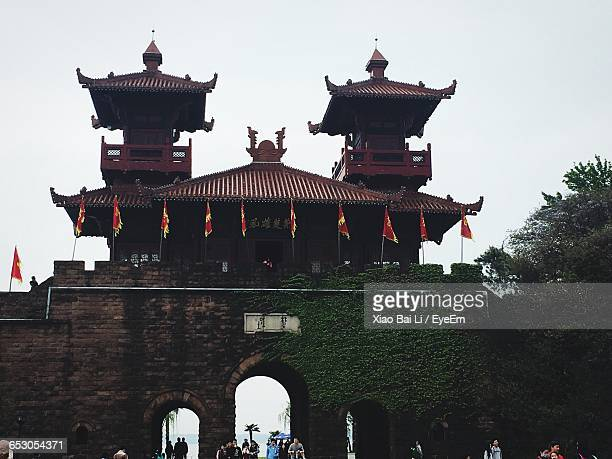 low angle view of temple - wuhan stock photos and pictures