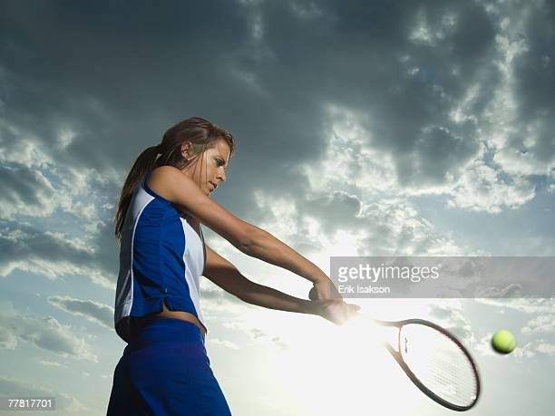 Low angle view of tennis player