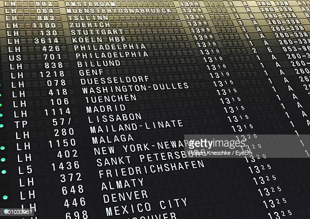 Low Angle View Of Text On Arrival Departure Board In Airport
