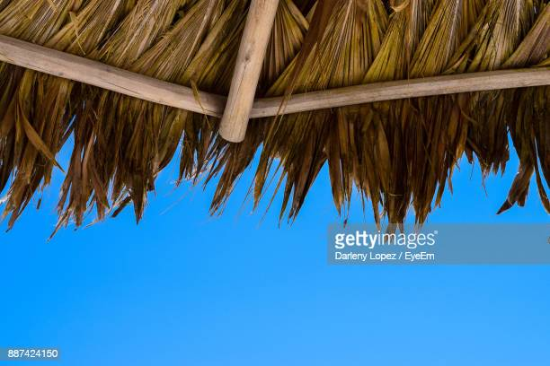 low angle view of thatched roof against clear blue sky - punta cana fotografías e imágenes de stock