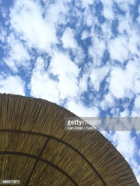 low angle view of thatched roof beach umbrella against sky - iván zoltán stock pictures, royalty-free photos & images