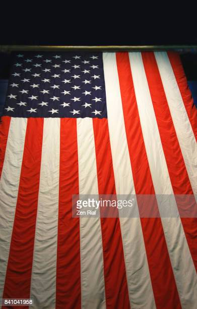 Low angle view of the American flag hanging from a ceiling