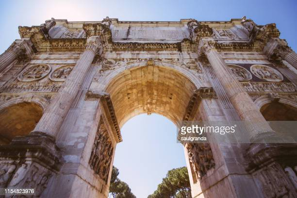 low angle view of the arch of constantine - roman forum stock pictures, royalty-free photos & images