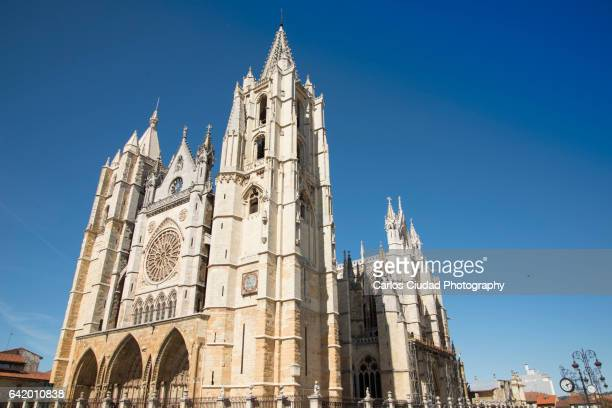low angle view of the cathedral of leon, castile and leon, spain - レオン県 ストックフォトと画像