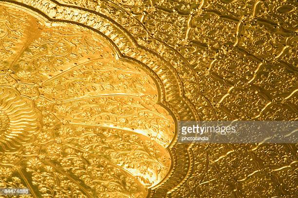 low angle view of the ceiling of a temple, golden temple, amritsar, punjab, india - golden temple india stock pictures, royalty-free photos & images