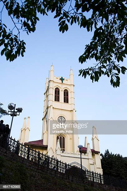 low angle view of the christ church of shimla, himachal pradesh, india - shimla stock pictures, royalty-free photos & images