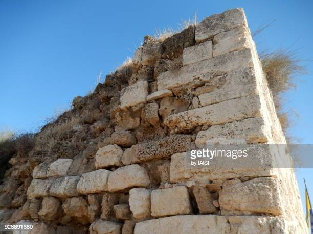 Low angle view of the Crusader fort of Casal des Plains in Azor, central Israel