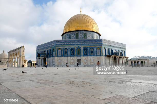 low angle view of the dome of the rock in jerusalem - jerusalem old city stock pictures, royalty-free photos & images
