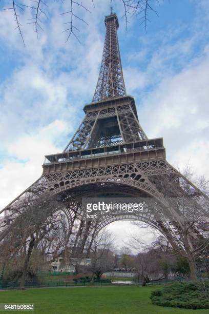 Low Angle View of  the Eiffel Tower against Blue Sky, Paris, France