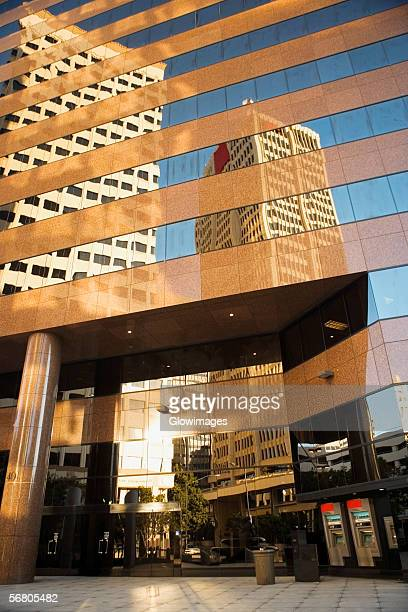 Low angle view of the entrance of a skyscraper, San Diego, California, USA