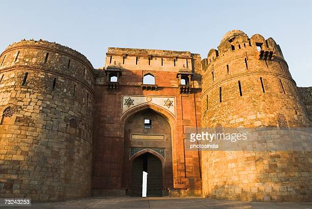 Low angle view of the entrance to a fort, Old Fort, New Delhi, India