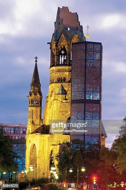 low angle view of the kaiser wilhelm memorial church, kurfurstendamm, berlin, germany - kurfürstendamm stock pictures, royalty-free photos & images