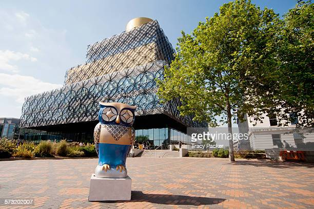 Low angle view of the Library of Birmingham, the largest public cultural space in Europe & 10th most popular visitor attraction in the UK. The 'Wise...